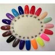 Värvilised geelid, palett näidistega