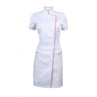 Платье-халат белое с розовым кантом
