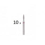 10 штук Бор алмазный красный пламя Ø 1,4mm 243