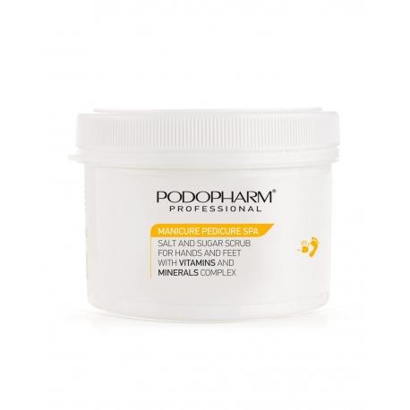Koorija vitamiinidega kätele ja jalgadele Podopharm Salt and sugar scrub for hands and feet